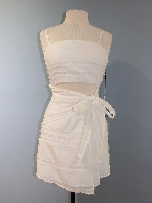 white frayed dress w/ cutout