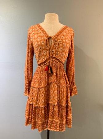 Rust Print Boho Dress