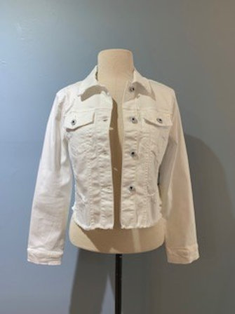 White Cropped Denim Jacket With Distressed Bottom