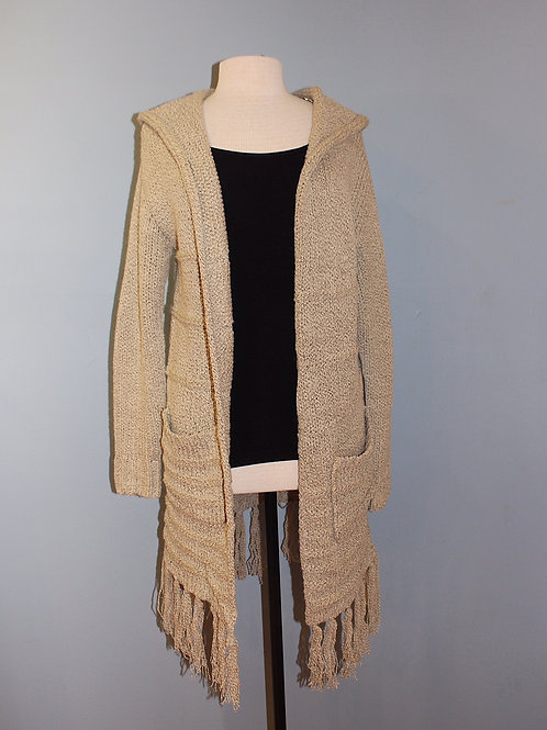 open hoody with fringe hem