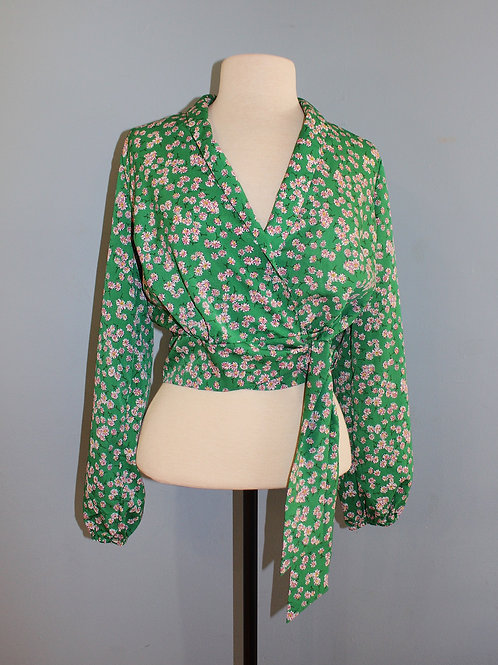kelly green floral wrap
