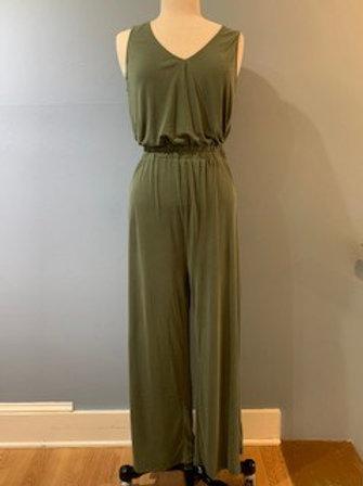 Olive Jersey Knit Jumpsuit