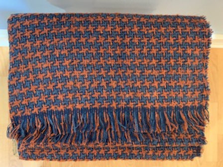 Rust and Blue Houndstooth Winter Scarf