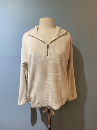 Cream Fuzzy Half Zip with Tie