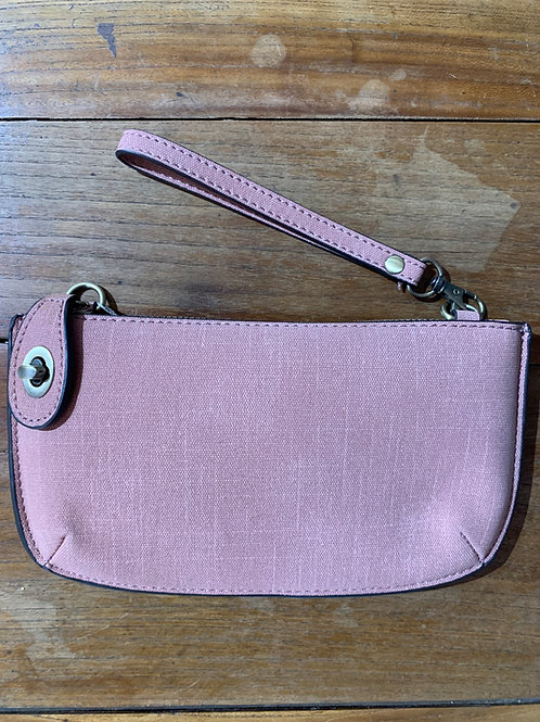 Blush Linen Crossbody Wristlet