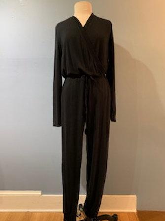 Long Sleeve Black Knit Jumpsuit