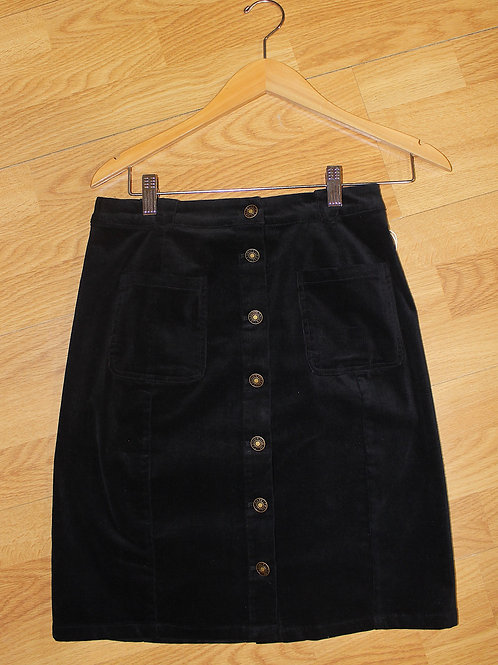 black stretch cord button skirt