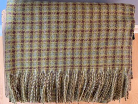Maroon and Olive Check Winter Scarf