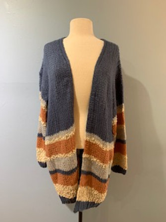 Rust/Blue/Tan Chunky Cardigan