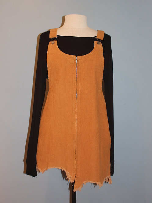 camel cord overall dress
