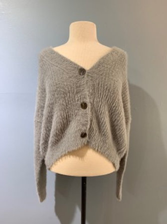 Dove Grey Fuzzy Cardigan