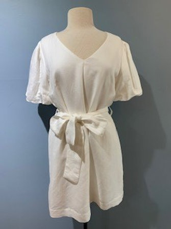 White Dress With Front Tie And Sleeve Detail
