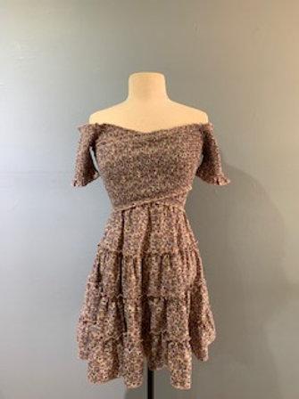 Off Shoulder Lilac Floral Dress