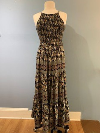 Black Printed Maxi With Top Smocking