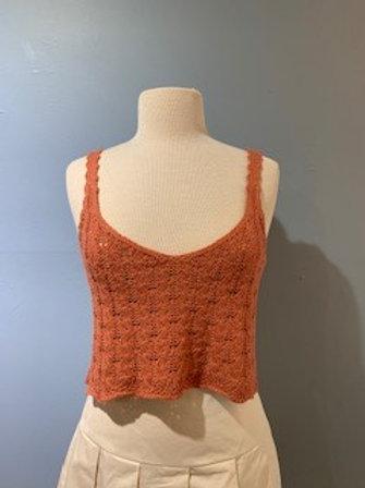 Rust Cropped Crochet Tank