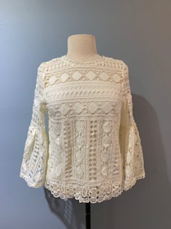 Cream Lace Bell Sleeve Blouse