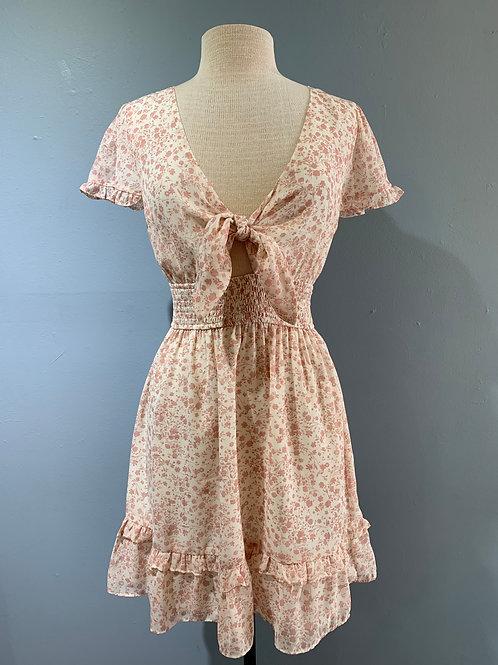 Rose Floral Tie Front Dress