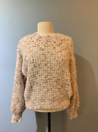 Ivory/Blush/Brown Balloon Sleeve Sweater