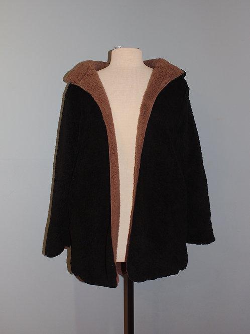 black & chocolate fluffy coat