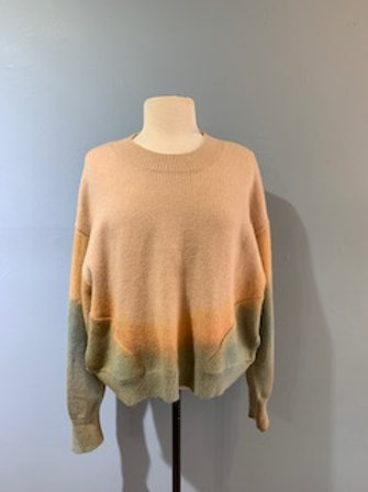 Multi Color Ombre Sweater With Pockets