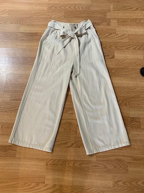 Khaki Wide Leg Cropped Pant