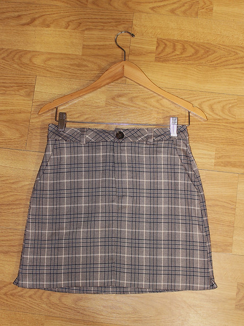 brown checked skirt