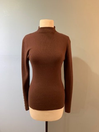 Brown Mockneck with Back Buttons