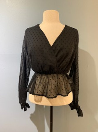 Black Dotted Sheer Blouse
