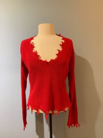 Red Distressed Hem Sweater