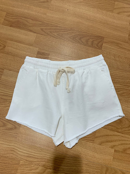 White Denim Drawstring Shorts