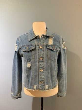 Cropped Denim Jacket With Distressing