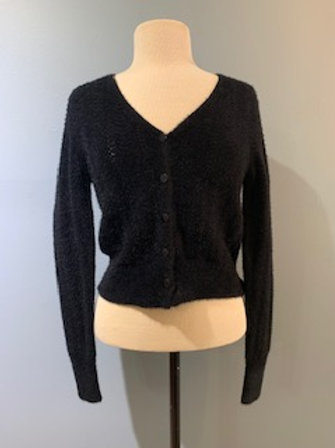 Black Cropped Pointelle Cardigan