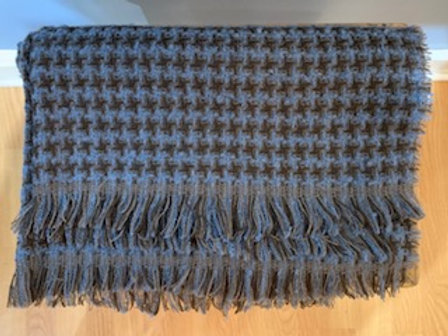 Brown and Blue Houndstooth Winter Scarf