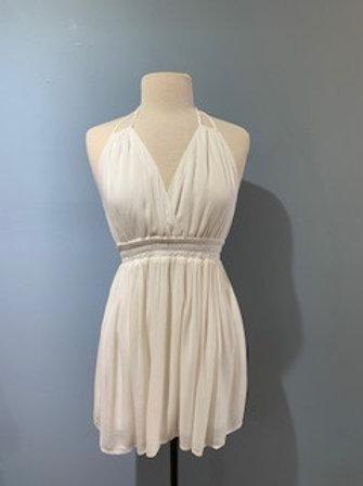 White Tie Halter Dress