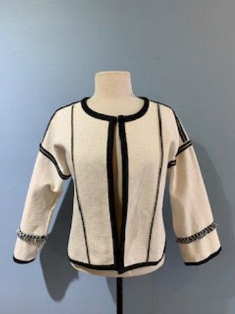 Cream Jacket With Black Trim