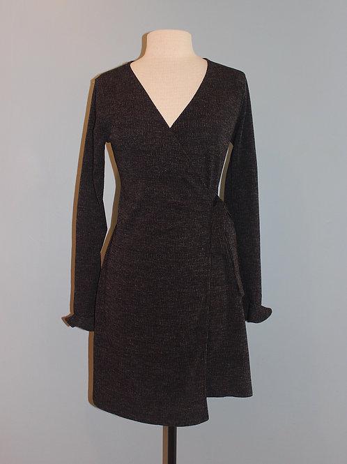 charcoal knit wrap dress