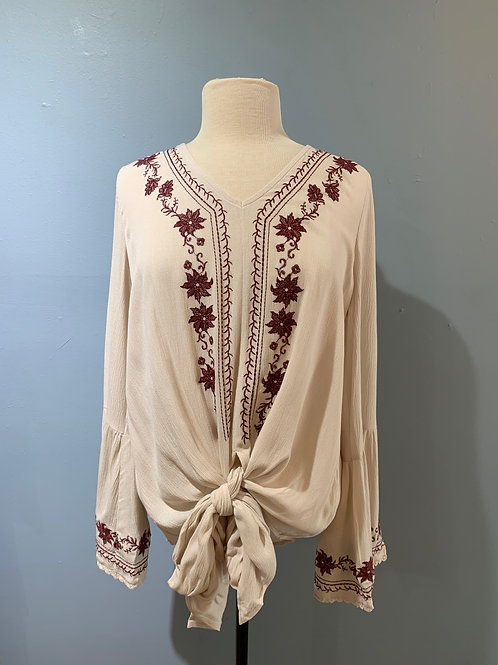 Cranberry Embroidered Boho Blouse