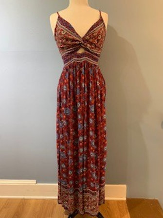 Maroon And Blue Floral Maxi Dress With Side Slits