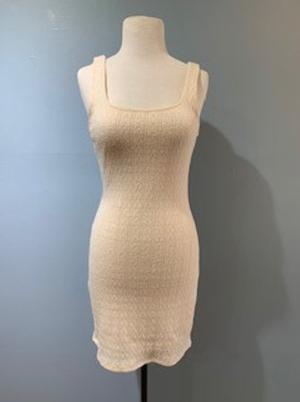 Cream Knit  Bodycon Tank Dress