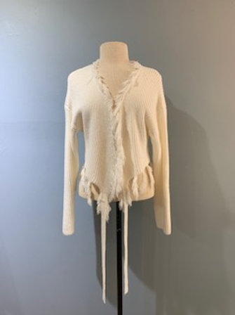 White Fringe Tie Sweater