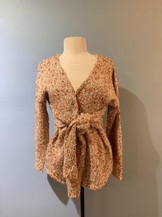 Rust Boucle Wrap Sweater