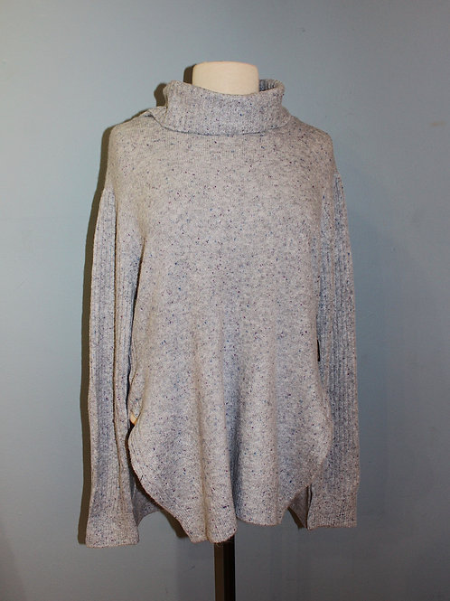 blue grey speckled cowl neck sweater