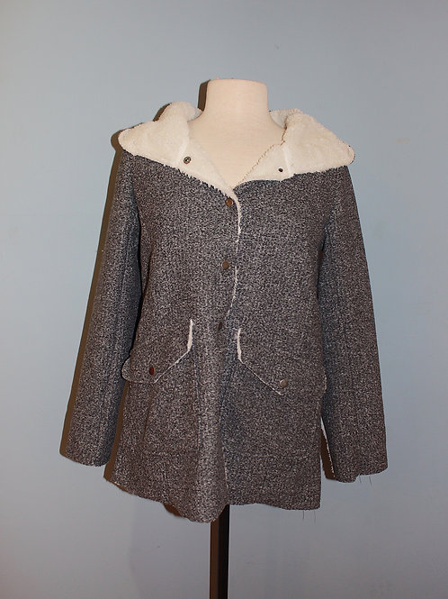 grey shearling lined coat
