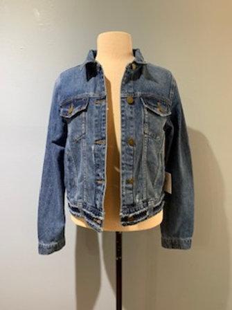 Denim Jacket with Frayed Waistband