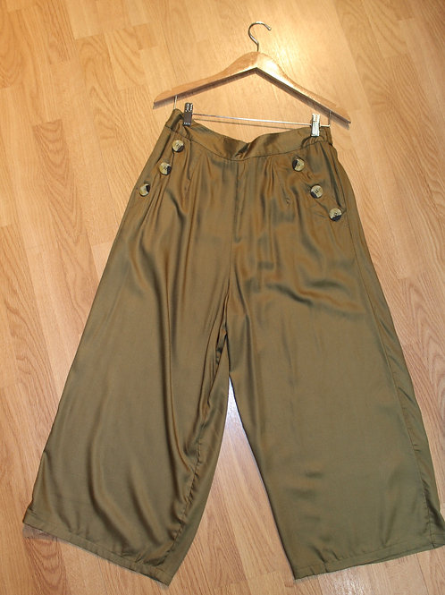 olive wide leg pants with buttons