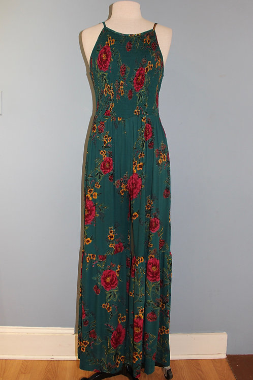 teal jumpsuit with flowers