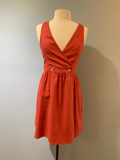 Vintage Red Linen Button Front Dress