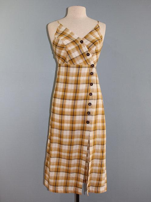 mustard check midi dress