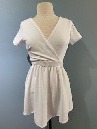 White Cross Front Jersey Dress