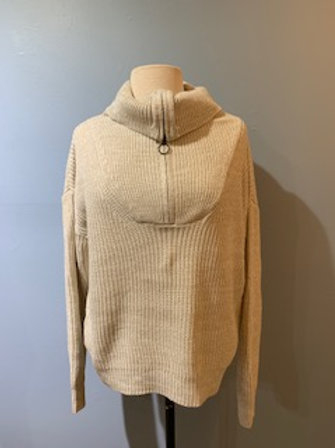 Oatmeal Sweater With Front Zip